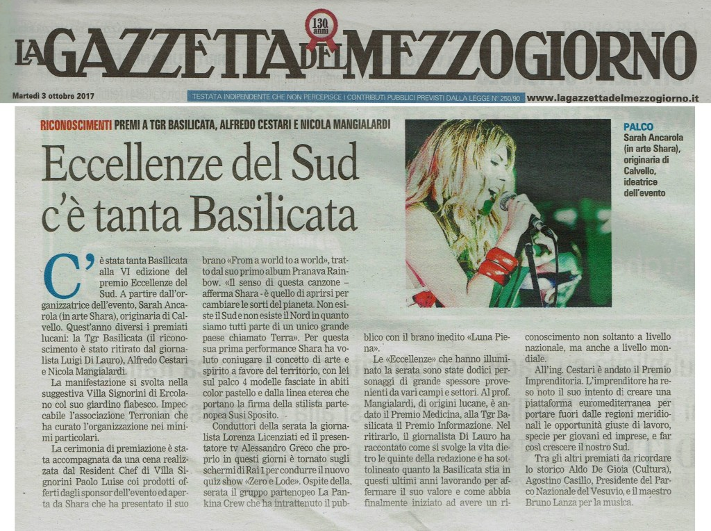Articolo La Gazzetta del Mezzogiorno del 03-10-2017